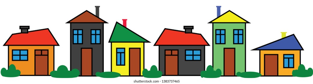 Border colorful houses. Panoramic ornament. Color city. Neighborhood design