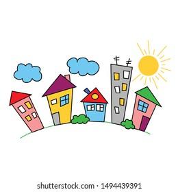 Border colorful houses. Panoramic ornament. Color city. Neighborhood design.