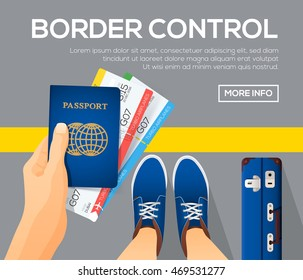 Border control banner with first person view, passport with tickets in a hand, time to travel. vector illustration.