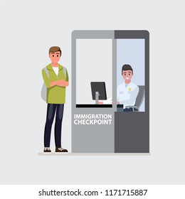 Border control counter concept, immigration officer, Airport terminal.Vector illustration cartoon character.