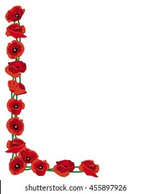 Border corner of red poppies for decoration or remembrance