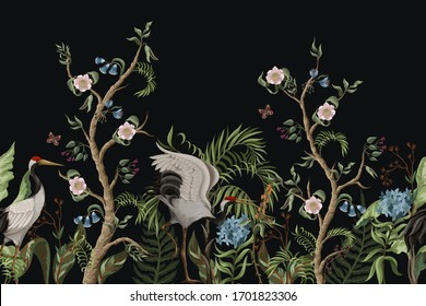 Border with cranes and peonies in chinoiserie style. Vector.