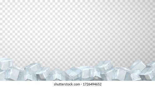 Border of crystal ice cubes on transparent background. Bottom edging consisting of blocks of frozen water. Frame, row. Horizontal vector banner template for chilled beverages, cocktails, ice cream.