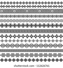 Border decoration elements patterns in black and white colors. Most popular ethnic border in one mega pack set collections. Vector illustrations.