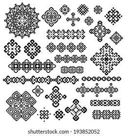 Border and decoration elements patterns in black and white colors. Most popular ethnic signs  in one mega pack set collections. Vector illustrations