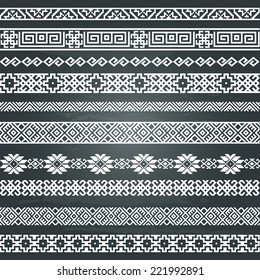 Border decoration elements patterns in black and white colors on chalkboard background. Most popular ethnic border in one mega pack set collections. Vector illustrations.