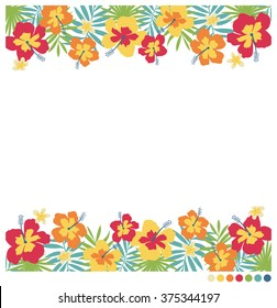 Border decorative vector with hibiscus, frangipani flowers and palm leaves