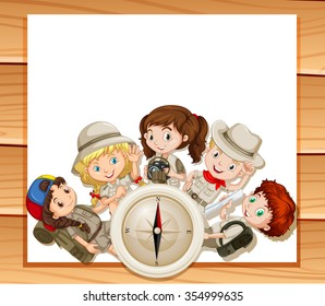 Border design with children in camping outfit illustration