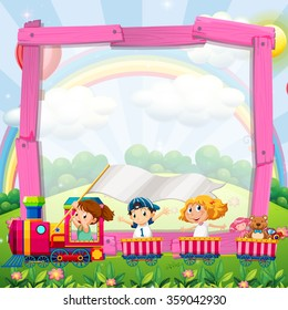 Border design with children on the train illustration