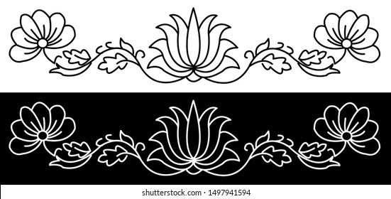 Border design concept of Lotus flower with other flowers and Leaves - Indian Traditional and Cultural Rangoli, Alpona, Kolam or Paisley vectro line art with black and white background