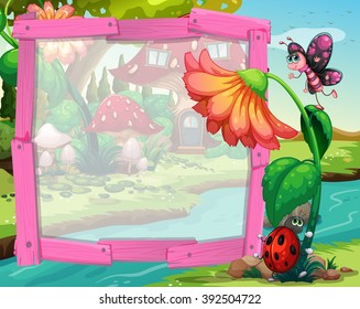 Border design with flower and insects illustration