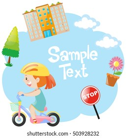 Border design with girl on bike illustration