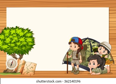 Border design with girls in tent illustration