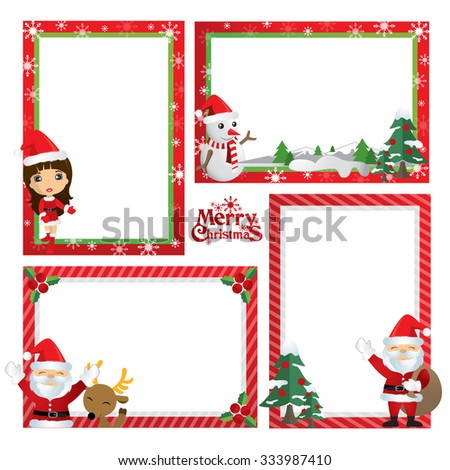 border design little girl in christmas theme newyear card