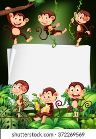 Border design with monkeys in the forest illustration
