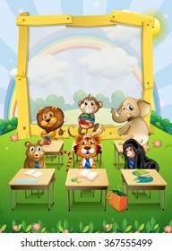 Border design with wild animals sitting in classroom illustration