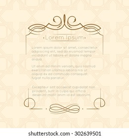 Border designs for greeting cards. Template design for invitation, labels, poem writing. Vintage concept.