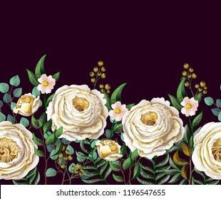 Border with English  roses and other flowers. Vector