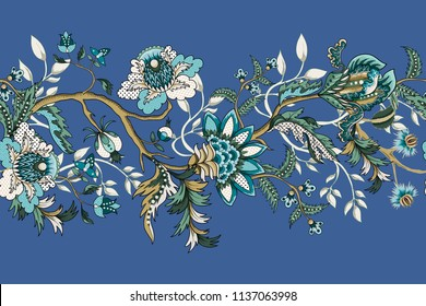 Border with ethnic Japanese ornament elements. Folk flowers and leaves for print or embroidery.