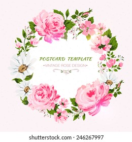 f4ee2594a62 Red Rose Flower Wreath Calligraphic Text Stock Vector (Royalty Free ...