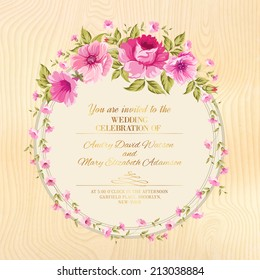 Border of flowers in vintage style over wooden plane. Vector illustration.