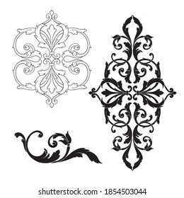 Border and Frame with baroque style. Ornament elements for your design. Black and white color. Floral engraving decoration for postcards or invitations for social media.