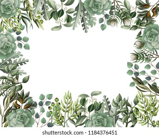 Border and frame with leaves and succulent  in watercolor style. Eucalyptus, magnolia, fern and other