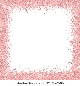 Border frame with rose gold glitter on white background. Vector