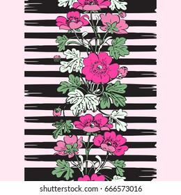 Border frame seamless botanical bush with tropical flowers vintage print, stripes pattern retro spring summer background vector design, fashion, shirt, textile, greeting card, invitation, wedding