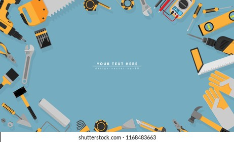 border frame of yellow color tools set as background with blank copy space for your text. vector illustration a part of tools set icons isolated on blue background , flat design