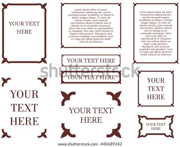 Border frames calligraphic simple line shapes vector labels