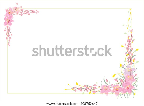 Border Frames Flowers Created Pink Flowers Stock Vector