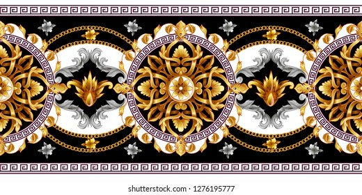 Border with golden baroque elements on a vivid background.