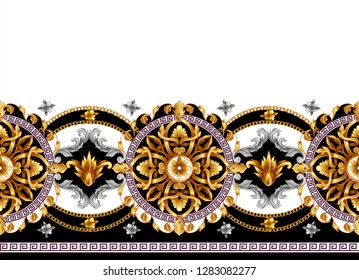 Border with golden baroque elements on a white background.