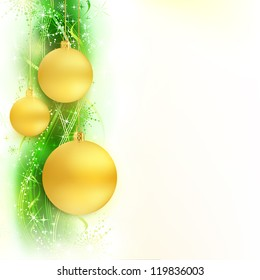 Border with golden Christmas balls hanging over a green, golden wavy pattern with stars and snow flakes on a white background. Bright, vivid and festive for the Christmas season to come.