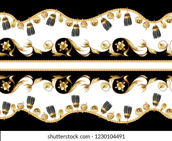 Border with golden and fringe baroque elements.