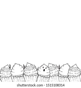 Border with halloween cupcakes. Coloring page with halloween decor. Beautiful picture for cover, coloring book for adults and children.