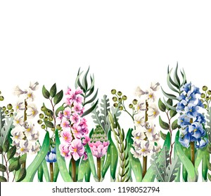 Border with hyacinths and wild flowers on white background.
