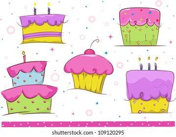 Border Illustration Featuring Birthday Cakes