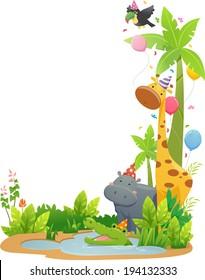 Border Illustration Featuring Safari Animals Wearing Party Hats