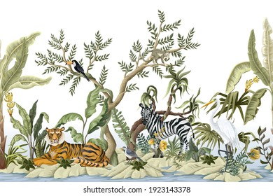 Border with jungles trees and animals. Trendy tropical print