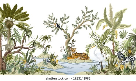 Border with jungles trees,animals and islands in chinoiserie style. Trendy tropical interior print