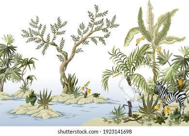 Border with jungles trees,animals and islands. Trendy tropical print