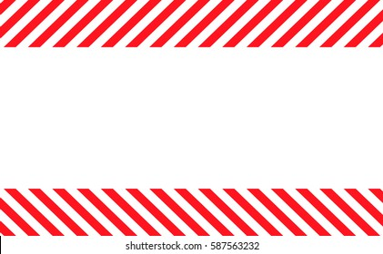 Border with line red and white color. Caution sign. The hazard warning for text and symbols filled.