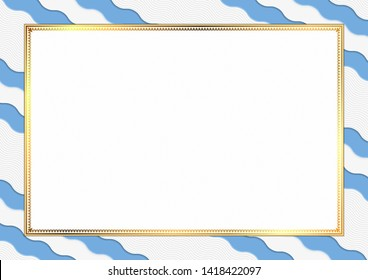 Border made with Argentina national colors. Template elements for your certificate and diploma. Horizontal orientation. Vector