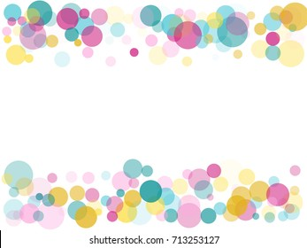 Border of memphis round confetti in cyan blue, pink and yellow on white. Childish frame background vector, children's party birthday celebration card. Holiday confetti circles in memphis style.