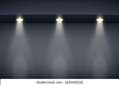 The border on black wall with spotlights. Modern Interior False Ceilings with Design for Kitchen and Living Room and Bedroom. Editable Background Vector illustration.