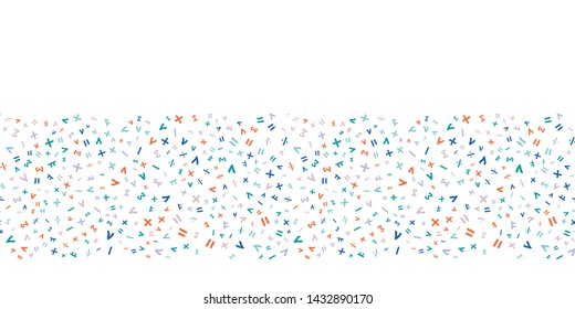 Border print.  Scattered math symbols pattern.  Fun random ditzy design for education. Blue, Orange, Teal, Pink, Lavender.