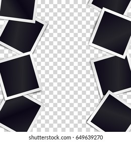 Border of realistic black photo frames on transparent background. Template for design. Vector illustration