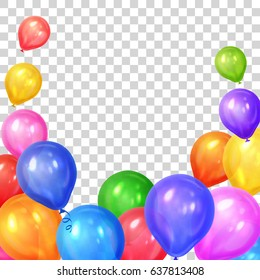 Border of realistic colorful helium balloons isolated on transparent background. Party decoration frame for birthday, anniversary, celebration. Vector illustration